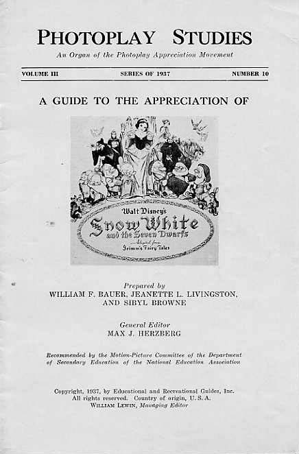 Image for Photoplay Studies. A Guide To The Appreciation Of Walt Disney's Snow White